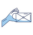 hand human with envelope mail isolated icon vector image vector image