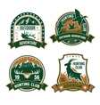 Hunting club shields icons set vector image vector image