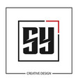 initial letter sy logo template design vector image