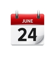 June 24 flat daily calendar icon Date vector image vector image