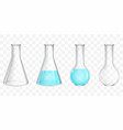 laboratory flasks with blue water realistic vector image