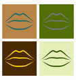 lips kiss patch sticker isolated on color vector image vector image