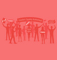 red warm of protesters people vector image vector image