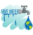 Save water theme with earth and faucet vector image vector image