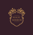 Set creative emblem of the magic mirror with flora vector image vector image