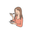 smiling woman is holding plate and eating cake vector image vector image