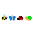 snail cochlea bee bumblebee butterfly lady bug vector image vector image