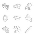 spy equipment icons set outline style vector image