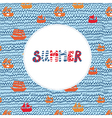 Summer card with sea and ships - funny holidays vector image vector image