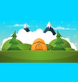 tent travel landscape cartoon vector image vector image