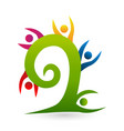 tree swirl people logo vector image
