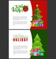 warm wishes and christmas holidays greeting cards vector image vector image