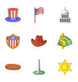 washington city icons set cartoon style vector image