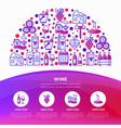 wine concept in half circle vector image vector image