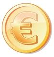 golden coin with euro shuny sign vector image