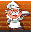 cartoon happy chef holding a dish in hand vector image