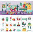 newborn room template constructor and icon set vector image