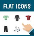 flat icon clothes set of pants uniform t-shirt vector image