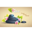Spa Background of Black Pebble and Small Flowers vector image