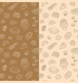 bakery products hand drawn doodle seamless pattern vector image