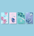 banners set alocasia tropic leaf vector image