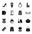 Black Female accessories and clothes icons vector image vector image