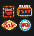 black friday sale new year open retro icons vector image