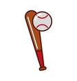 brightly baseball ball and bat vector image vector image