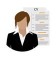 businesswoman woman character with cv or resume vector image vector image