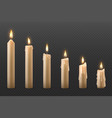 candle flame burning realistic 3d wax candle vector image vector image