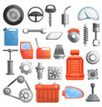car parts icons set cartoon style vector image