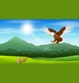 cartoon of eagle pouncing on snakes vector image vector image