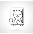 Cat taking selfie line icon vector image vector image