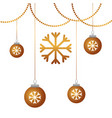 christmas decoration balls and garland snowflake vector image