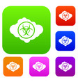 cloud with biohazard symbol set collection vector image vector image