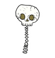 comic cartoon spooky skull and spine vector image vector image