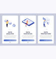 data isometric landing page vector image vector image
