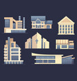 detailed images of various types of buildings vector image vector image
