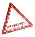 distress textured approved triangle stamp seal vector image