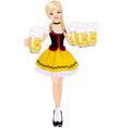 German girl serving beer vector image