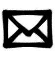 graffiti mail envelope icon sprayed in black vector image