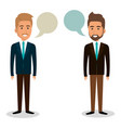 group of businessman teamwork with speech bubbles vector image