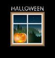 halloween pumpkin outside the window vector image vector image