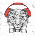 hipster animal guepard hand drawing muzzle of vector image