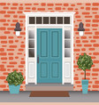 house door front with doorstep and steps window vector image