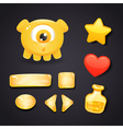 Interface icons for game design with monster vector image vector image