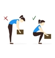 Lifting Box Correct and Incorrect Position vector image vector image