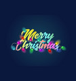 merry christmas colorful text title with bautiful vector image