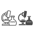 microscope line and glyph icon research vector image vector image