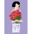 Mothers Day Woman holding large bouquet of red vector image
